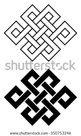 Endless Outline Knot Tibet, Eternal , Buddhism and Spirituality . Vector illustration - stock vector