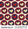 Endless pattern with hearts in circles. Abstract background with many decorative elements. Colorful cute texture - stock vector