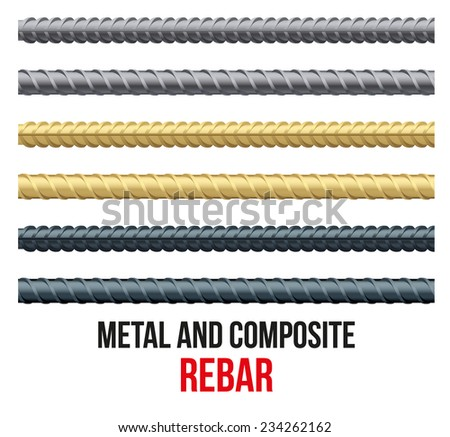 Endless rebars. Reinforcement steel and composite for building. Vector illustration - stock vector