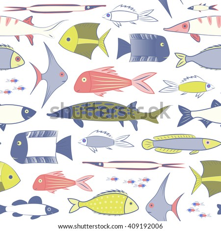 Endless seamless pattern with colorful tropical fish of different shapes and sizes. Background with animals. Stock vector - stock vector