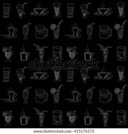 Endless seamless pattern with sketches of drinks in Doodle style - coffee, milkshake,juice, beer and others. Stock vector - stock vector