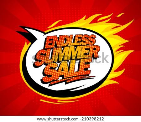Endless summer sale pop-art design with fiery speech bubble. - stock vector