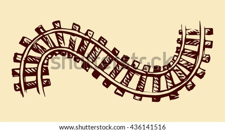 Endless wooden ties and wavy bend steel rails isolated on white. Freehand outline ink hand drawn picture icon sketchy in art scribble vintage style pen on paper. Perspective view with space for text - stock vector