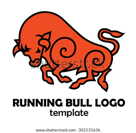 energetic galloping bull - vector illustration logo, mascot or symbol template - stock vector