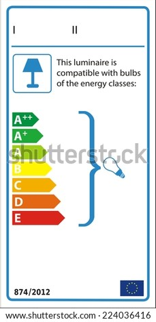 Energetic label for luminaire with no lamps included. - stock vector