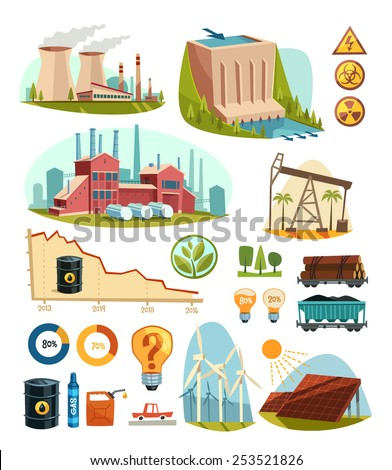 Energetics and natural resources. Infographic elements. Vector illustration. - stock vector
