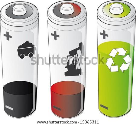 energies - battery - stock vector