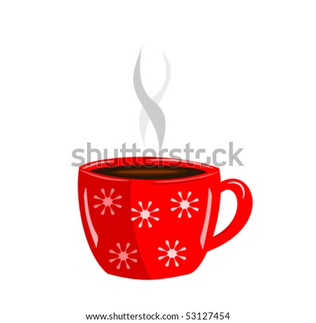 Energizing red cup of hot coffee vector illustration - stock vector