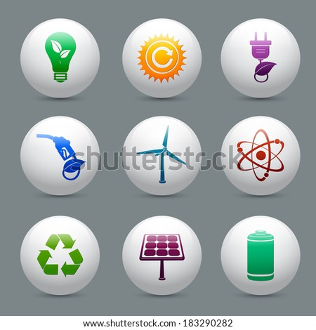 Energy and ecology buttons set with nuclear atom power solar panel and battery decorative elements isolated vector illustration