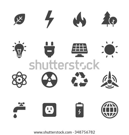 Energy and ecology icons - stock vector