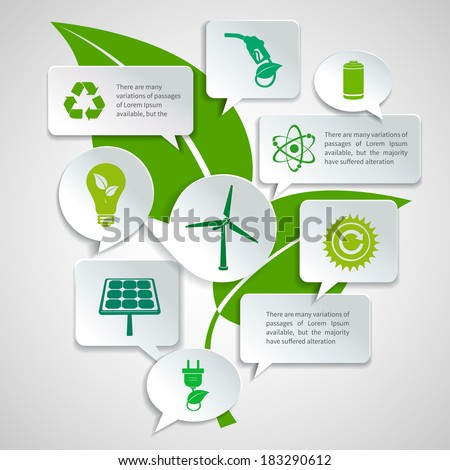 Energy and ecology paper speech bubbles business infographics design elements with green leaf background concept vector illustration - stock vector