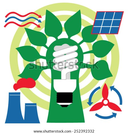 Energy and electric power symbols - stock vector