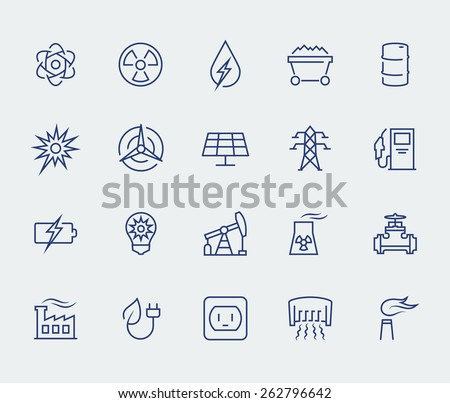 Energy and electricity icon set in thin line style - stock vector