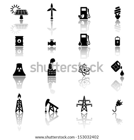 Energy and industry icon set - stock vector