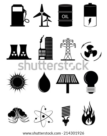 Energy And Power Source Icons Set - stock vector