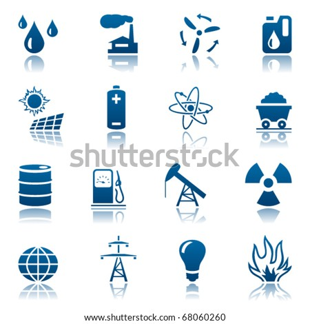 Energy and resource icon set - stock vector
