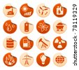 Energy and resource stickers - stock vector
