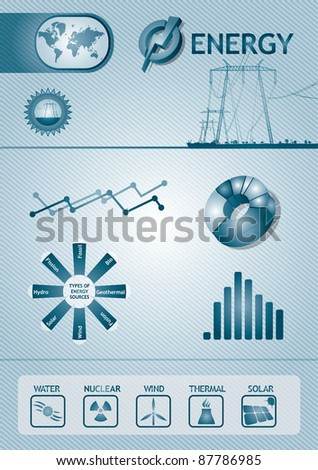 Energy chart - abstract template design - stock vector