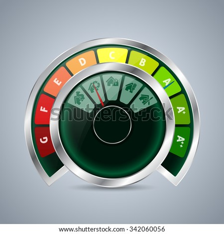 Energy class double gauge design with house icons - stock vector