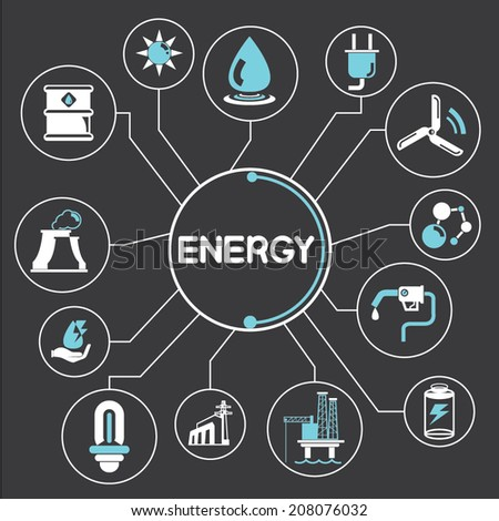 energy concept info graphic in black background - stock vector