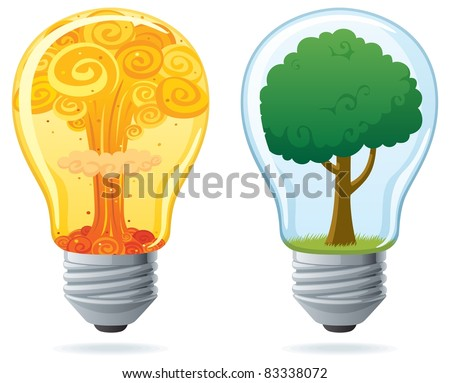 Energy: Conceptual illustration of 2 light bulbs, powered by nuclear and by clean energy. No transparency used. Basic (linear) gradients. - stock vector