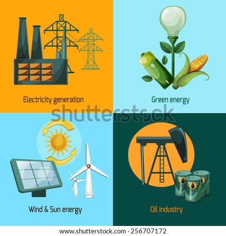 Energy design concept set with electricity generation green wind and sun oil industry icons isolated vector illustration - stock vector