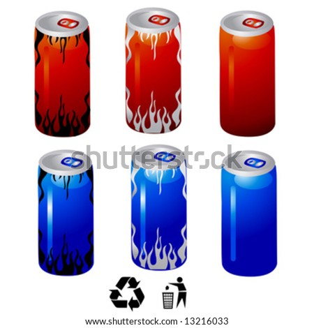 energy drink cans vector - stock vector