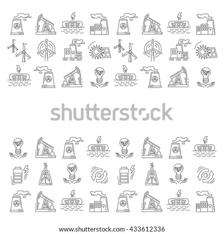 Energy Ecology and Pollution Vector set of icons