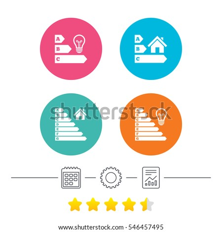 Energy Efficiency Icons. Lamp Bulb And House Building Sign Symbols.  Calendar, Cogwheel And