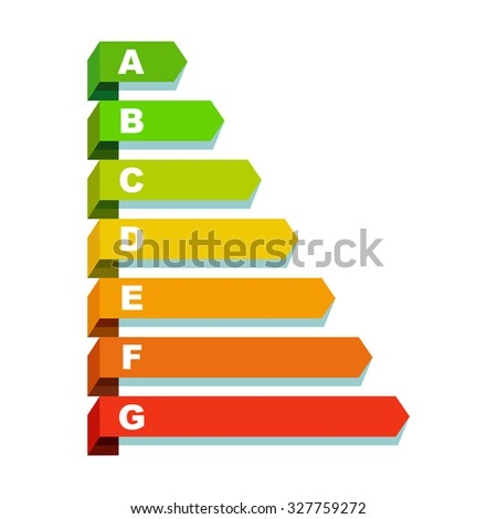 Energy efficiency rating, flat design, web icon, vector illustration