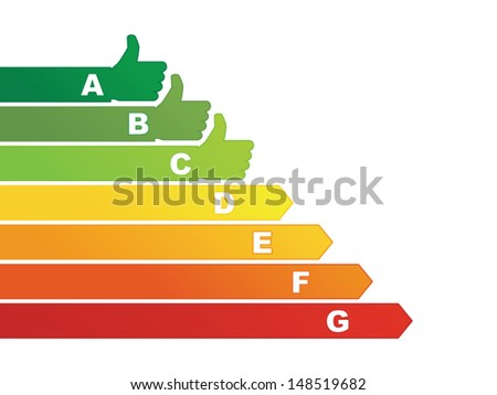 Energy efficiency rating with social icon - stock vector