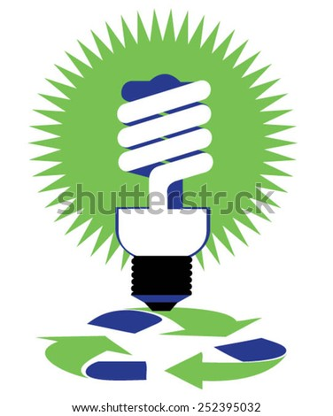 Energy efficient light bulb over recycling symbol - stock vector