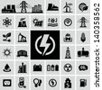 Energy, electricity, power icons - stock photo