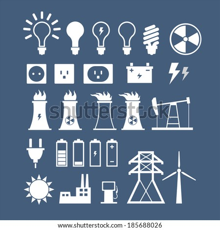 Energy, electricity, power icons - stock vector
