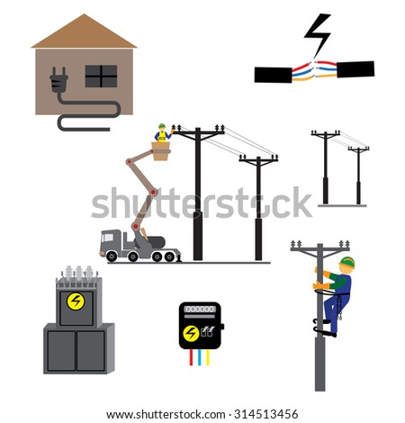 Energy, electricity, power icons in colors - stock vector
