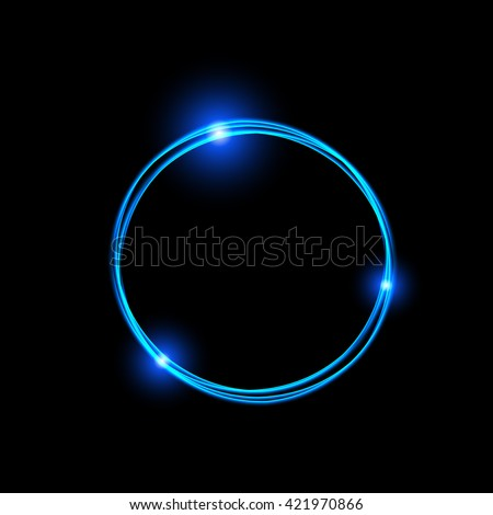 Energy frame. Shining circle banner. Magic light neon energy circle. Glowing fire ring trace. Glitter sparkle swirl trail effect on black background. Blue color version. Easy to use. - stock vector