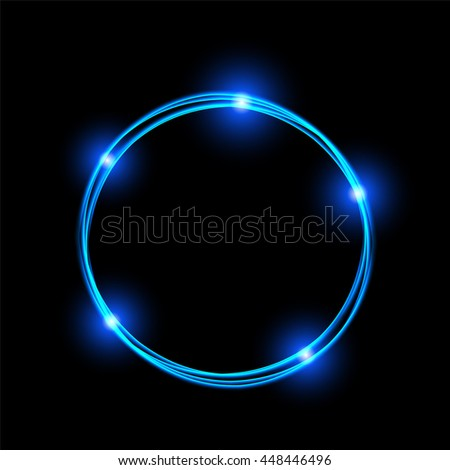 Energy frame. Shining circle banner. Magic light neon energy circle. Glowing fire ring trace. Glitter sparkle swirl trail effect on black background.