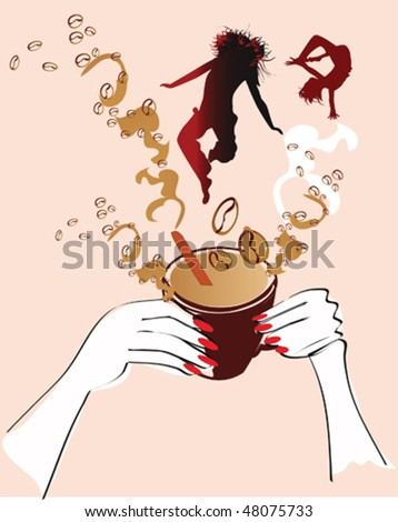 Energy from coffee - stock vector