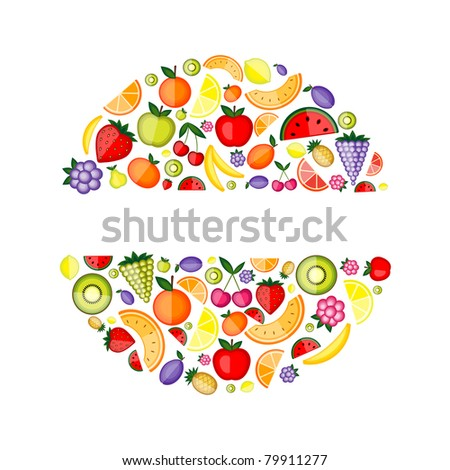 Energy fruits, frame for your design - stock vector