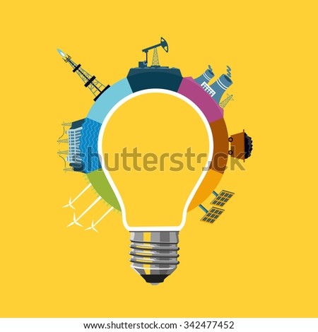 Energy generation concept. Bulb and diagram with power plants. - stock vector