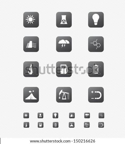 Energy Icon on black Button Collection 2 - stock vector