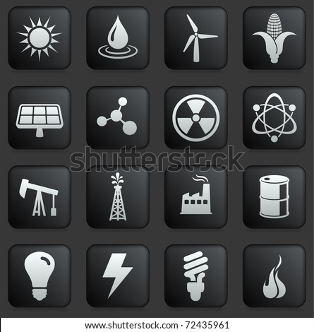 Energy Icon on Square Black and White Button Collection Original Illustration - stock vector