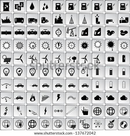 Energy icon set , 100 items - stock vector