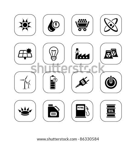Energy icons - BW series - stock vector