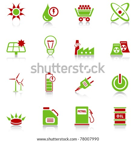 Energy icons - green-red series - stock vector