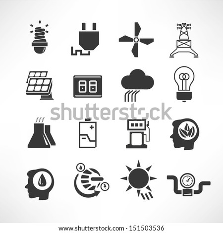 energy icons set, electricity icons - stock vector