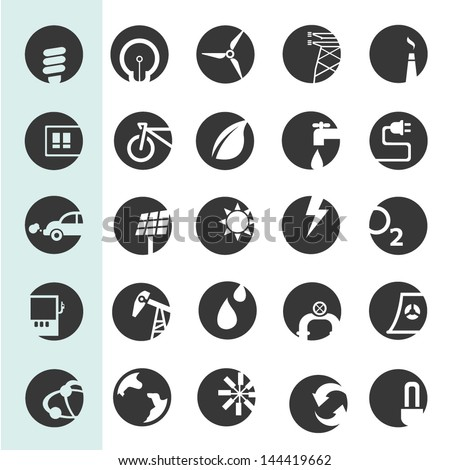 energy icons set, go green icons, buttons set - stock vector