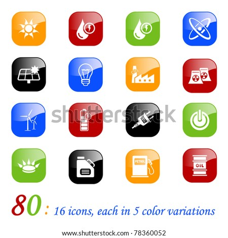 Energy icons - set of 16 different energy icons, each with 5 different backgrounds - stock vector
