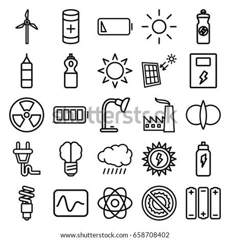 Energy icons set. set of 25 energy outline icons such as sun, energy drink, no brightness, battery, table lamp, ful battery, plug, fluorescent lamp, solar panel, mill, factory