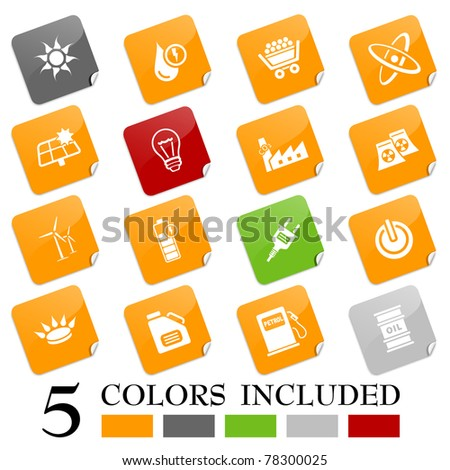 Energy icons - sticky series. EPS includes each icon in 5 colors.
